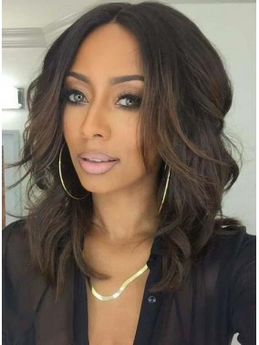 Attractive Medium Middle Part Wavy Lace Front Human Hair Wig
