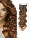 Wavy Light Chestnut 7 Pcs Clip In Remy Human Hair Extensions CPE026