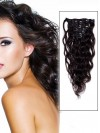 Wavy Dark Brown 7 Pcs Clip In Remy Human Hair Extensions CPE027