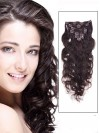 Wavy Dark Brown 9 Pcs Clip In Remy Human Hair Extensions CPE034
