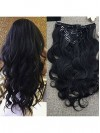 Wavy Natural Black Clip In Hair Extensions CPE053