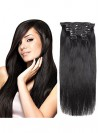 Virgin Clip In Real Human Hair Straight Natural Black 7Pieces CPE057