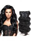 Full Head Clip In Hair Extensions Body Wave Human Hair Weft CPE094