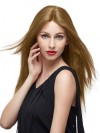 Long Natural Straight Middle Parting Real Hair Capless Wigs amaa025