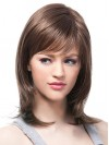 Shoulder Length Layered Remy Human Hair Wigs With Full Bangs amaa067