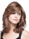 Volumn Shoulder Length Natural Wavy Women Human Hair Wigs amaa116