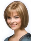 Blonde Bob Wig Chin Length Remy Human Capless Straight Style amaa118