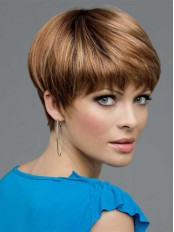 100% Human Hair Wigs With Cropped Length Boycut Hairstyle amaa133