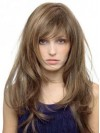"22"" Length Straight Layered Human Hair Wig"