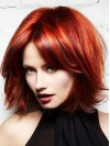 Chin Length Red Color Straight Human Hair Wigs amaa191