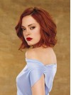 Chin Length Cute Water Wave Red Human Hair Lace Wigs amaa198