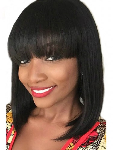 Short Unprocessed Virgin Remy Human Hair Bob Wigs For African ... 6e81d8535b