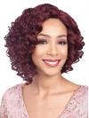 Deep Curly Chin Length Red Synthetic Wigs For Black Women amab056