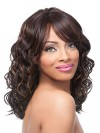 Natural Wavy Shoulder Length Synthetic Wig With Side Bangs amab080