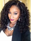 Trendy Long Yaki Curly Full Lace Remy Human Hair Wig amab202