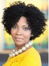 Center Part Kinky Curly African American Human Hair Wigs