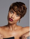 African American Side Swept Pixie Human Hair Wigs amab377
