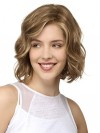 Chin Length Natural Wavy Bobs Lace Front Synthetic Wigs amac030