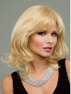 Chin Length Blonde Layered Cut Synthetic Wigs With Full Bangs amac061