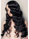 Lace Front Long Black Curly Human Hair Wigs amad001