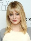 Comfortable Shoulder Length Straight With Bangs Emma Stone Wigs amae062
