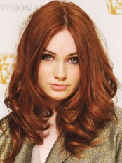 Long Copper Wavy Suitable Human Hair Karen Gillan Wigs amae066
