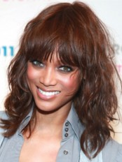 Auburn Curly With Bangs Convenient Tyra Banks Wigs amae084