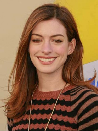 Auburn Long Straight Without Bangs Anne Hathaway Wigs Long Wigs D4 Amae092