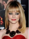 Synthetic Blonde Shoulder Straight With Bangs Emma Stone Wigs amae145