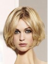 Blonde Bob Remy Human Lace Front Wavy Style Wigs amag002