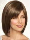 Synthetic Straight Short Brown Bobs Handmade Wigs amag025