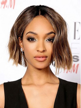 Popular Brown Short Straight Lace Front Remy Human Hair Wig wwa1709002