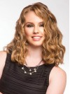 Glamourous Blonde Medium Wavy Lace Front Remy Human Hair Wig wwa1709017